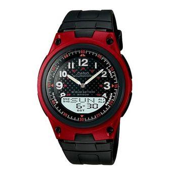 【CASIO】 城市都會時尚雙顯腕錶-紅框 (AW-80-4B)
