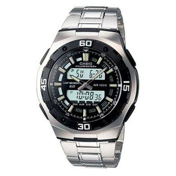 【CASIO】都會光廊雙顯時區鋼帶錶-黑 (AQ-164WD-1A)