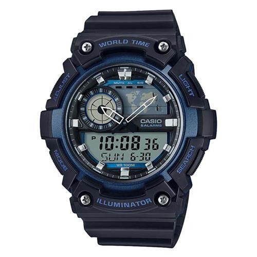 【CASIO】 世界地圖時間設計雙顯運動錶-黑X藍框 (AEQ-200W-2A)