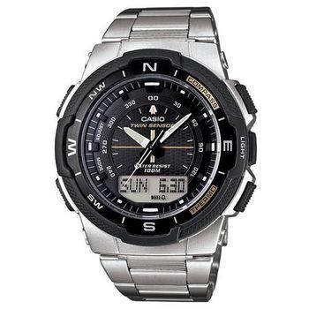 【CASIO】 輕巧登山王者風範戶外運動雙顯不鏽鋼錶-黑 (SGW-500HD-1B)
