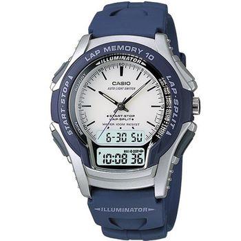 【CASIO】 藍衣武士指針雙顯錶 (WS-300-2E)