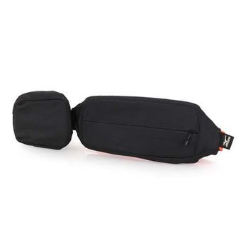 【MIZUNO】腰包2PCS-附小袋 手機包 慢跑 路跑 登山 美津濃 黑橘