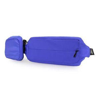 【MIZUNO】腰包2PCS-附小袋 手機包 慢跑 路跑 登山 美津濃 藍螢光黃