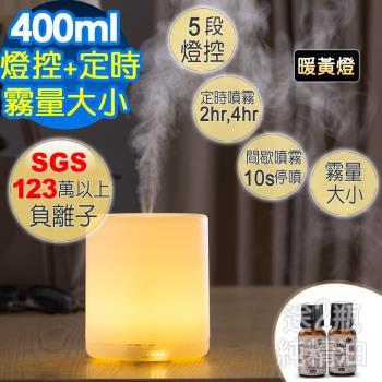 Warm 燈控/定時超音波負離子水氧機(W-150Y暖黃燈) +澳洲單方純精油10ML x 1瓶