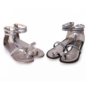 TTSNAP楔型涼鞋-MIT真皮水鑽指環繞踝平底涼鞋  黑/錫