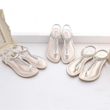 TTSNAP夾腳涼鞋-甜美水鑽花型平底涼鞋 金黃/銀粉/白藍