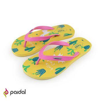 Paidal仙人掌與羊弓夾腳涼鞋拖鞋-草莓粉