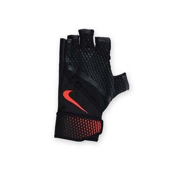 【NIKE】男用加重訓練手套-重量訓練 健身 半指手套 黑橘