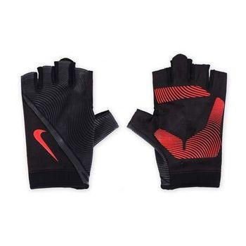 【NIKE】男用動態訓練手套-短指手套 重量訓練 健身 黑橘紅