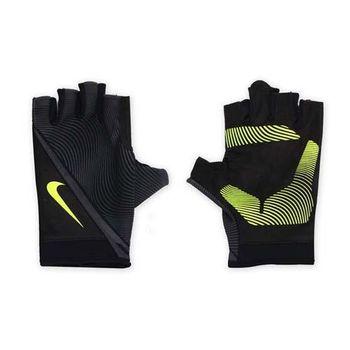 【NIKE】男用動態訓練手套-短指手套 重量訓練 健身 黑螢光綠