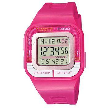 【CASIO】 10年電力慢跑數位運動風錶-桃紅 (SDB-100-4A)