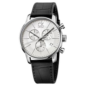 Calvin Klein CK City 都會紳士計時腕錶-銀/43mm K2G271C6