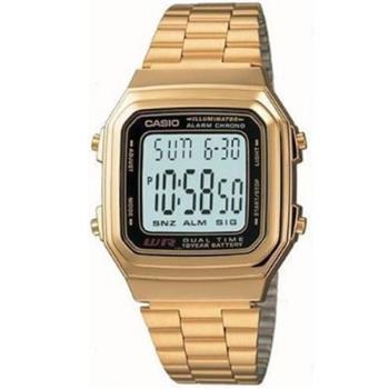 【CASIO】 時尚都會數字錶-金色 (A-178WGA-1)