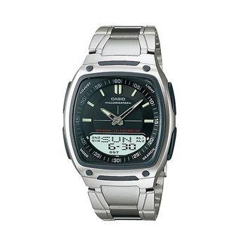 【CASIO】 都會風雙顯商務不鏽鋼帶錶-黑 (AW-81D-1A)