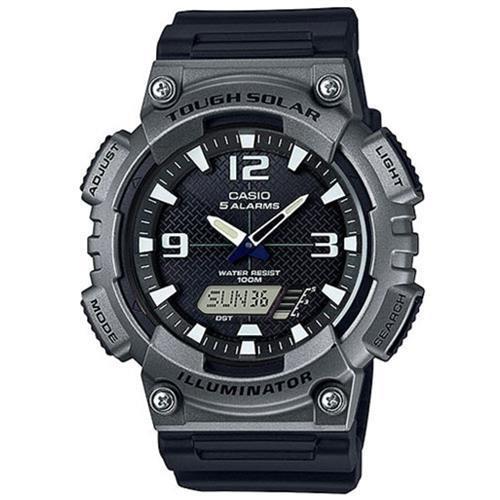 【CASIO】 新一代光動遊俠雙顯運動錶-黑x鐵灰框 (AQ-S810W-1A4)