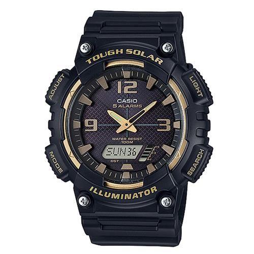 【CASIO】 新一代光動遊俠雙顯運動錶-黑x金框 (AQ-S810W-1A3)