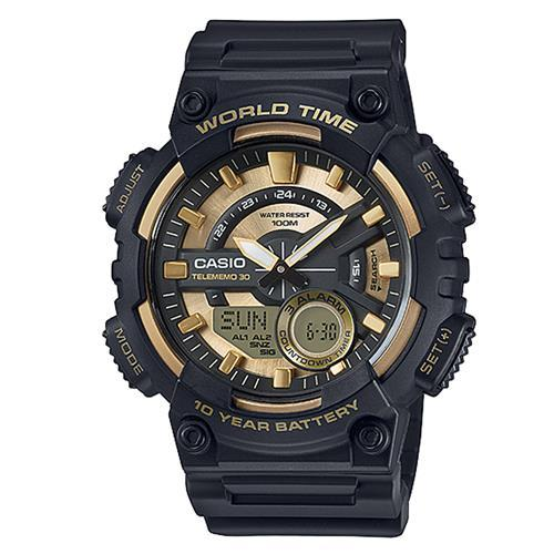 【CASIO】 悍將世界城市玩家雙顯運動錶-金面 (AEQ-110BW-9A)