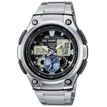 【CASIO】 超世代城市光廊雙顯指針錶-黑 (AQ-190WD-1A)