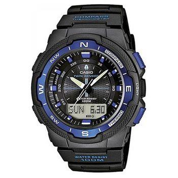 【CASIO】 輕巧登山王者風範戶外運動雙顯錶-藍框 (SGW-500H-2B)