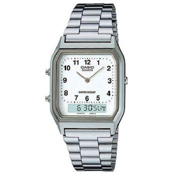 【CASIO】 銀色時尚復古雙顯指針錶-數字白面 (AQ-230A-7B)