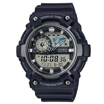 【CASIO】 世界地圖時間設計雙顯運動錶-黑X銀框 (AEQ-200W-1A)