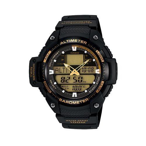 【CASIO】 新機能戶外雙顯運動錶-金面 (SGW-400H-1B2)