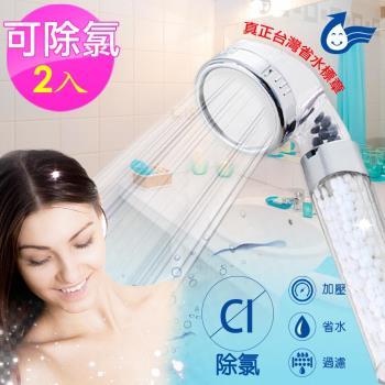 神膚奇肌304不銹鋼單段除氯省水加壓過濾蓮蓬頭2入