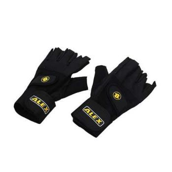【ALEX】皮革手套-健身 重量訓練 半指手套 台灣製造 黑