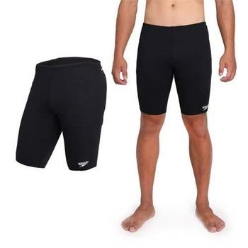 【SPEEDO】ENDURANCE 男運動及膝泳褲-游泳 四角泳褲 平口泳褲 黑