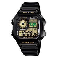 【CASIO】 世界地圖十年電力數位錶-黃面 (AE-1200WH-1B)
