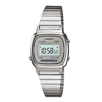 【CASIO】 經典復古風數位女腕錶-灰銀面 (LA-670WA-7)