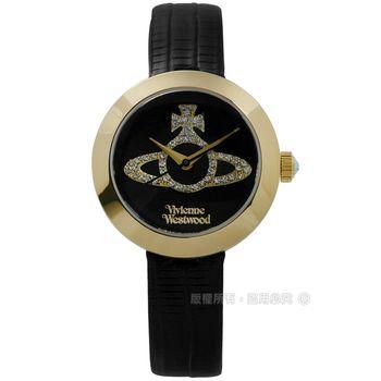 Vivienne Westwood / VV150GDBK / 獨特典雅晶鑽真皮腕錶 黑x金框 30mm