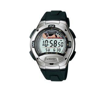 【CASIO】 炫銀羅盤潮汐膠帶錶-銀面 (W-753-1A)