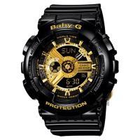 CASIO 卡西歐 Baby-G 黑金率性雙顯錶 BA-110-1ADR
