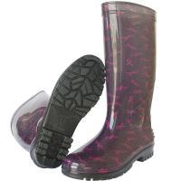 台製一體成型時尚高筒雨靴/雨鞋(紅絲帶)