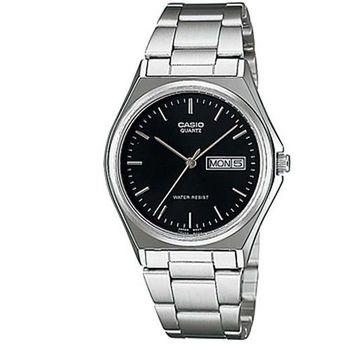 【CASIO】 經典簡約時尚日曆星期腕錶-羅馬黑面 (MTP-1240D-1A)