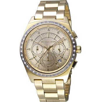 Michael Kors 星光伸展台計時腕錶 MK6421 金色 38mm