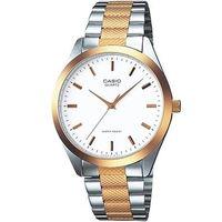【CASIO】 富豪金銀時尚指針紳士腕錶-羅馬白面x半金版 (MTP-1274SG-7A)