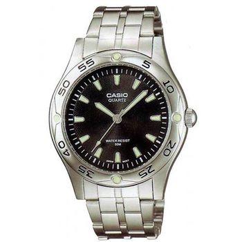 【CASIO】 時刻夜光時尚不鏽鋼腕錶-黑面 (MTP-1243D-1A)