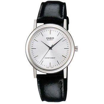 【CASIO】 經典簡約時尚皮帶紳士腕錶-羅馬白面 (MTP-1095E-7A)