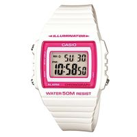 【CASIO】 超亮LED大螢幕方形數位錶-白/桃紅框 (W-215H-7A2)