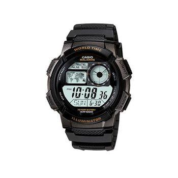 【CASIO】 世界之城電子數位膠帶錶-黑框 (AE-1000W-1A)