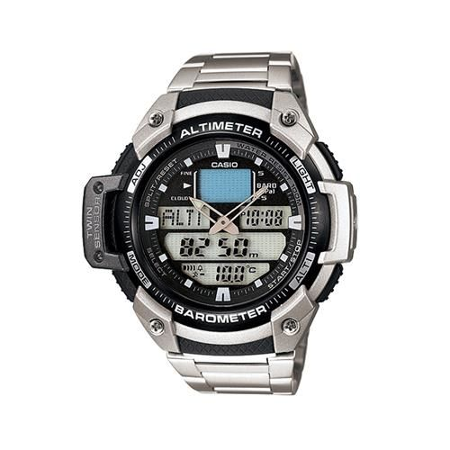 【CASIO】 新機能戶外雙顯不鏽鋼運動錶-黑面 (SGW-400HD-1B)