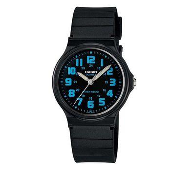 【CASIO】輕巧實用數字時刻經典指針錶-黑X藍數字 (MQ-71-2B)