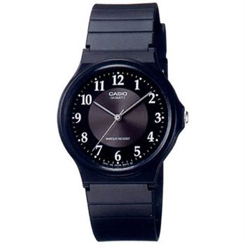 【CASIO】 超輕薄感指針錶-黑x銀盤面 (MQ-24-1B3)
