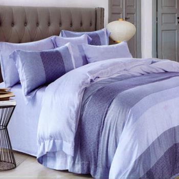 【情定巴黎】蓝影格调 100%高密嫩柔天丝特大四件式两用被床包组