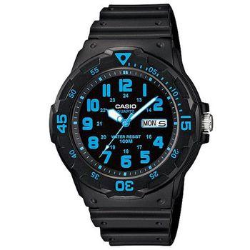 【CASIO】 潛水風DIVER LOOK指針錶-黑面藍刻度 (MRW-200H-2B)