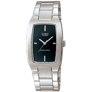 【CASIO】 清新時尚酒桶型指針紳士腕錶-黑面 (MTP-1165A-1C)