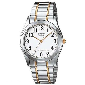 【CASIO】 時尚輝煌指針紳士錶-數字白面x金邊 (MTP-1275SG-7B)