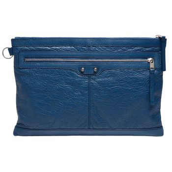BALENCIAGA 經典CLIP系列亮銀釦小羊皮拉鍊手拿iPad包(大-藍)